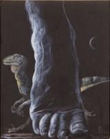 Il passo del Gigante, 1997 acrilico su cartone preparato, cm 27 x 19 collezione privata- Milano