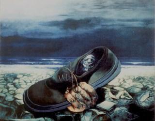 Sguardo racchiuso, 1997 acrilico e olio su cartone, cm 60x80 collezione privata