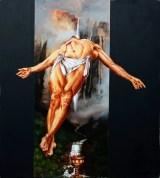 Il sacro Calice, 2000 tempera vinilica e olio su tela cm 200x180