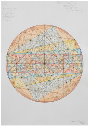 "Mark Reynolds - ""Thales Series: ATROTW, Quadruple Square Group, 6.19,"" 2019, Watercolor and ink on cotton paper, 20 x 14 inches"