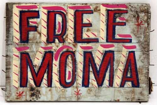 Free MoMA - 2011, enamel on found material, 12 x 8 x 1 inches