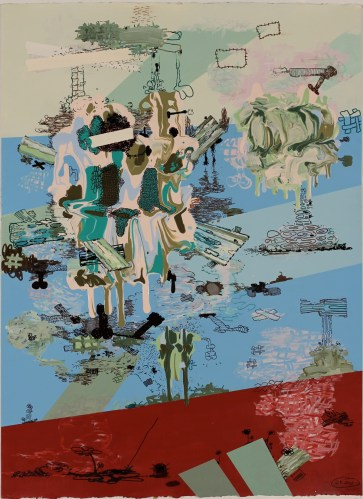 """Jane Fine - """"More Good News About Decay,"""" 2011, acrylic and ink on paper, 30 x 22 inches"""