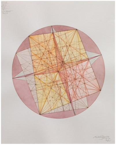 "4. Mark Reynolds - ""Thales Series: ATROTW, CQ Subset, Square and Phi, 1.20.20,"" 2020, Watercolor, pen and ink on cotton paper, 20 x 16 inches"