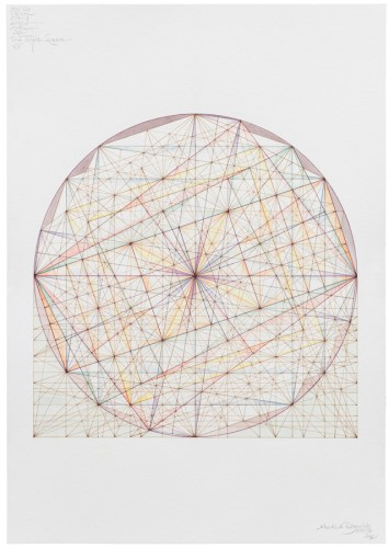 """Mark Reynolds - """"Thales Series: ATROTW, The Triple Square, 5.15.19,"""" 2019, Watercolor and ink on cotton paper, 20 x 14 inches"""
