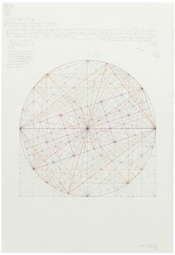 """Mark Reynolds - """"Thales Series: ATROTW, The Triple Square Study, 5_13_19,"""" 2019, Graphite and ink on cotton paper, 22 x 15 inches"""
