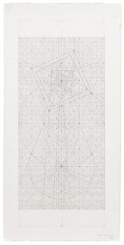 "Mark Reynolds - ""Theta Series: Molecular Drop,"" 1.19, 2019, Graphite on cotton paper, 22 x 11 inches"