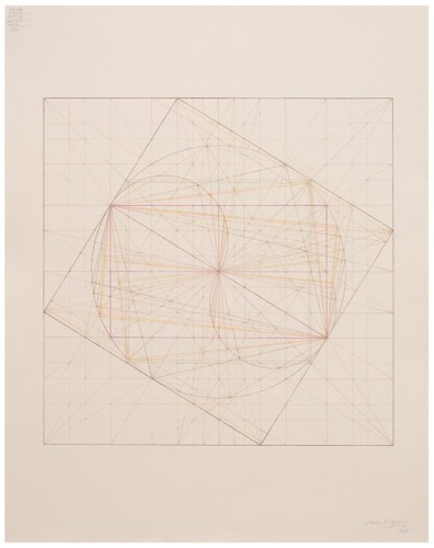 """Mark Reynolds - """"Thales Series: ATROTW, Golden Section, Static, Dynamic States, 5.19,"""" 2019, Colored pencil on cotton paper, 25 x 19.5 inches"""