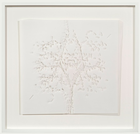 """Noriko Ambe - """"Stacked Tree,"""" 2013, Yupo Paper, 19.75 x 20.5 inches. Courtesy of Castelli Gallery."""
