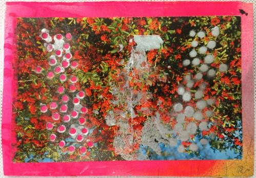 Bathroom Art - 2014, Acrylic on cut postcard, cardboard, 4.25 x 6 inches