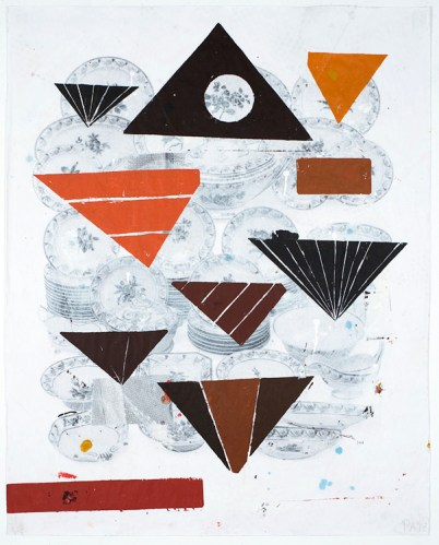 """Reed Anderson - """"Food Pyramid 1 (Papa Object),"""" 2013, Acrylic on photographic print, 48.5 x 40 inches"""