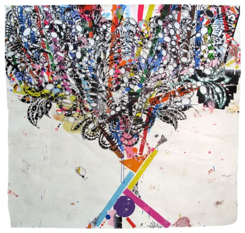 "Reed Anderson - ""Happy Turn Of New York,"" 2012-13, Acrylic, spray paint, collage on cut paper, 84 x 76 inches"