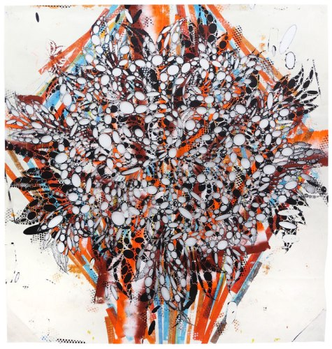 Unknown Title - 2014, Acrylic and collage on cut paper, 77 x 72 inches