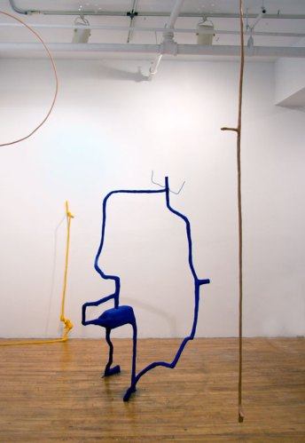 """""""Mud and Toys,"""" Installation view - Left to right: """"Ankle"""" (yellow), """"Bubbles"""" (blue), """"4th & Chi"""" (natural clay)"""