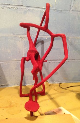 Untitled (Red) - 2014, Toy, mud, wire (studio view)