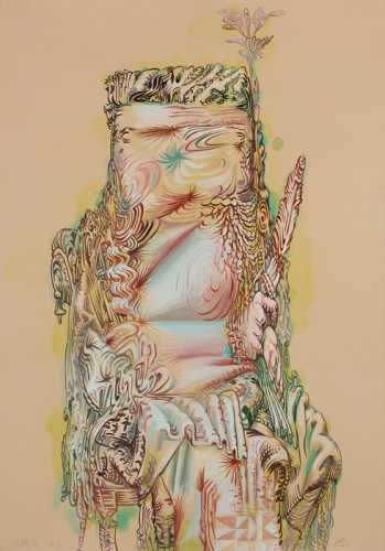 Untitled (Beige Indian) - 2012, Acrylic on paper, 22 x 15.25 inches