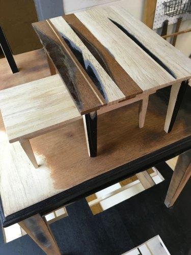 "Jean Blackburn - ""Feed"" (Detail), 2018, Wood, paint, glue, and metal. Approximately 9(H) x 8.5(W) x 12(D) feet"