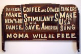 MoMA Will Be Free - 2011, enamel on found material, 56 x 26 x 2 inches