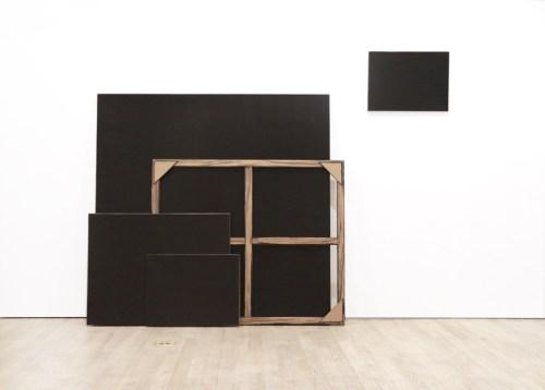 "Tom Burckhardt - ""Black Monochrome (Four Stacked with Stretcher),"" 2017, Acrylic on cardboard, 81 x 107 x 13 inches"