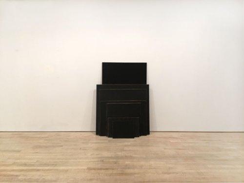 "Tom Burckhardt - ""Black Monochrome (Seven Stacked),"" 2017, Acrylic on cardboard, 64 x 47 x 20 inches"