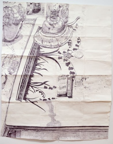 "Dawn Clements - ""2 Tables in my Kitchen,"" 2014, Ballpoint pen ink on paper, 64 x 55.5 inches. Sold"