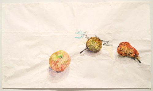 "Dawn Clements - ""A Pear from Jeannette,"" 2012, Watercolor on paper, 28 x 46 1/4 inches. Sold."