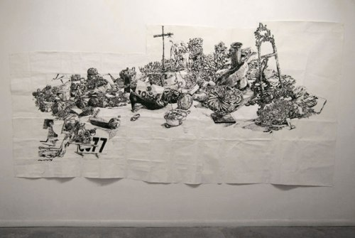 """Dawn Clements - """"Untitled (B&W Table),"""" 2010, Sumi ink on paper, 83 x 156 inches"""