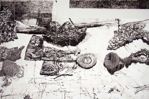 DETAIL Table of Work: a Collaboration (Dawn Clements and Marc Leuthold) - 2011, sumi ink on paper, 303 x 126 x 30 inches (with table)
