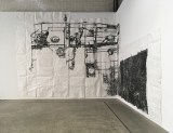 """Dawn Clements - """"Boiler,"""" 2010, Sumi ink on paper, Approximately 217 x 460 inches Installation view at Mana Contemporary NJ, Biergarten Gallery. May 2021"""