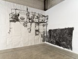 """Dawn Clements - """"Boiler,"""" 2010, Sumi ink on paper, Approximately 217 x 460 inches. Installation view at Mana Contemporary NJ Photo: John Berens"""