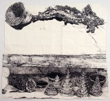 """Dawn Clements - """"Marc Leuthold's Sculptures (Branch, pagodas, bowls, horn and spool),"""" 2011, sumi ink on paper, 79.5 x 72 inches. Sold"""