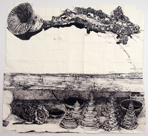 "Dawn Clements - ""Marc Leuthold's Sculptures (Branch, pagodas, bowls, horn and spool),"" 2011, sumi ink on paper, 79.5 x 72 inches. Sold"