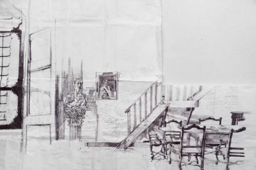 Detail: Library (Civitella Ranieri) - 2013, Ballpoint pen ink on paper, 47 x 106 inches