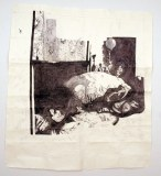 Jessica Drummond in Bed (My Reputation, 1946) - 2012, ballpoint pen ink on paper, 66.5 x 60.5 inches