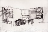 "Dawn Clements - Detail: ""Jessica Drummond's Kitchen,"" 2011-2015, Ballpoint pen ink on paper, Approx. 112 x 21 inches"