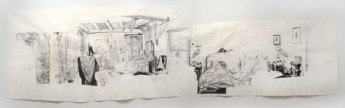 Lina (L'angelo bianco, 1955) - 2014, Ballpoint pen ink on paper, 63 x 228 inches