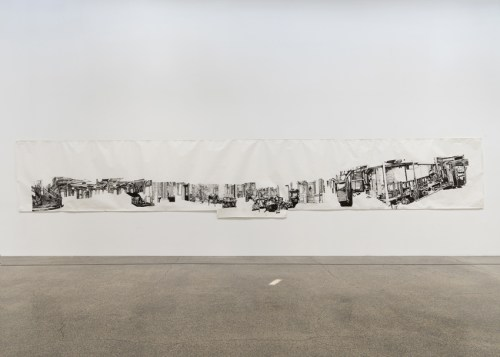 """Dawn Clements - """"First Class ('A Night to Remember,' 1958),"""" 2007, Sumi ink on paper, 66 x 396 inches Mana Contemporary NJ Installation View, May 2021 Photo: John Berens"""