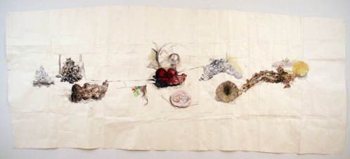 """Dawn Clements - """"Marc Leuthold's Sculptures on my Table,"""" 2010, gouache on paper, 67 x 159 inches"""