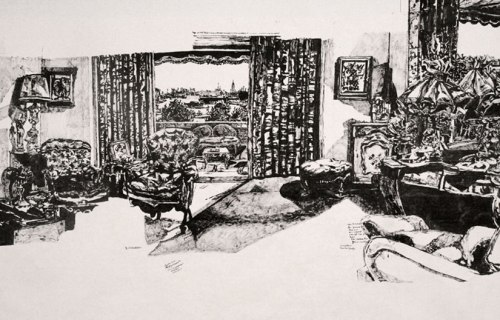 """Dawn Clements - """"Mrs. Bourne's Bedroom,"""" (Detail), 2012, Sumi ink on paper"""