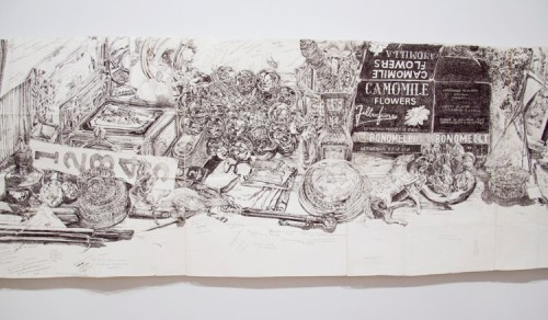 "Dawn Clements - Detail: ""My Desk (Ballpoint),"" 2009, Ballpoint pen ink on paper, 18.75 x 79.75 inches"