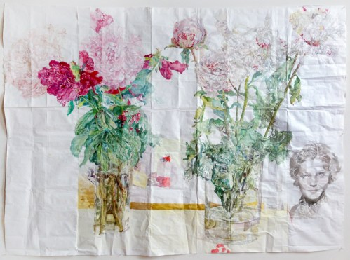 """Dawn Clements - """"Peonies,"""" 2014, Watercolor on paper, 69 x 93 inches. Sold"""