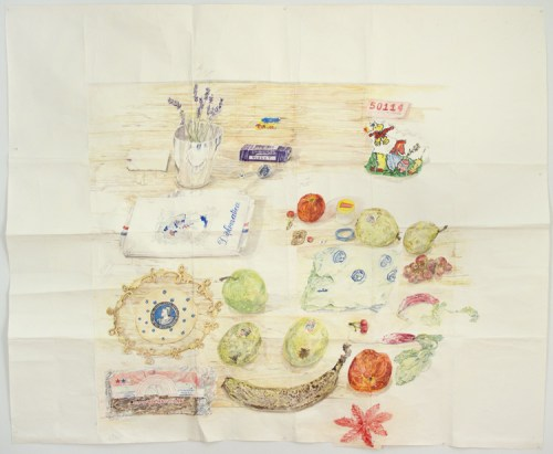 """Dawn Clements - """"Table (MacDowell),"""" 2015, Watercolor on paper, 81 x 99 inches"""