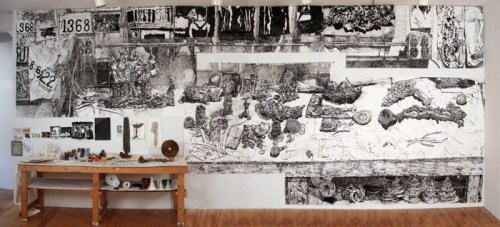 Table of Work: a Collaboration (Dawn Clements and Marc Leuthold) - 2011, Mixed media (including sumi ink on paper, porcelain, stoneware, wood), 303 x 126 x 30 inches (with table & sculptures)