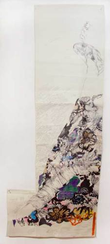 """Dawn Clements - """"The Name of the Rose (Self Portrait, MacDowell),"""" 2018, Ballpoint pen ink, watercolor, colored pencil on paper, 72.5 x 29 inches  This is a self-portrait that the artist made during a residency at the MacDowell Colony, while listening to an audio recording of Umberto Eco's book The Name of the Rose. Dialogue from the story infiltrates her drawing, the words literally drawn into the work, forming a frame around her figure."""