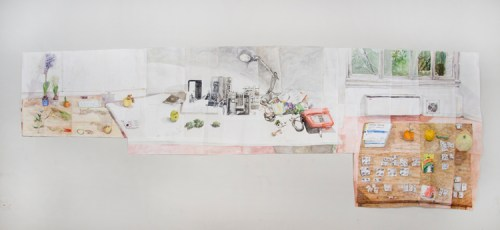 "Dawn Clements - ""Three Tables in Rome,"" 2017, Watercolor on paper, 85 x 248.5 inches"