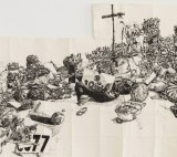"""Dawn Clements - Detail:  """"Untitled (B&W Table),"""" 2010, Sumi ink on paper, 83 x 156 inches"""