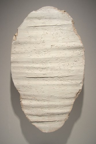 """Brian Conley - """"Tablet 3,"""" 2004, Ceramic with metal base, 22 x 12.5 inches"""
