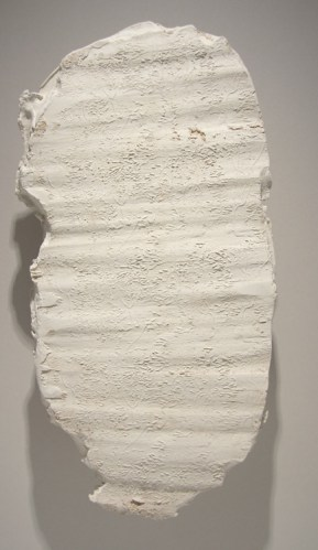 """Brian Conley - """"Tablet 4,"""" 2004, Ceramic with metal brace, 21 x 10 inches"""