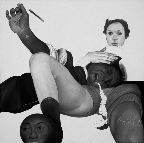 Comfort - 2009, Graphite and Charcoal on Canvas, 24 x 24 inches
