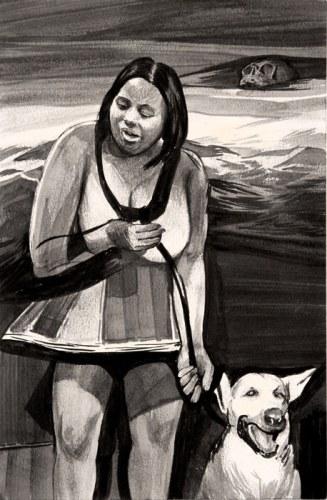 Hugo Crosthwaite - Dog Leashed, 2012, Acrylic on paper, 8.5 x 5.5 inches