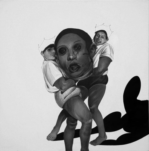 Head - 2009, Graphite and Charcoal on Canvas, 24 x 24 inches